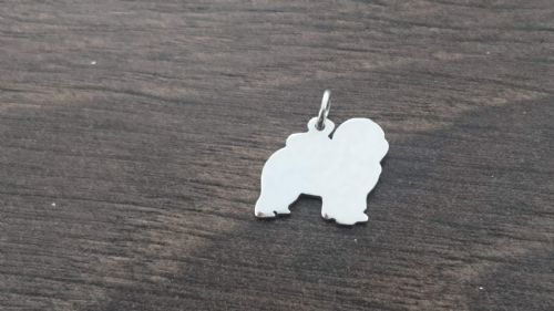 Chow dog Charm silhouette solid sterling silver Handmade in the Uk